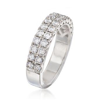 Henri Daussi 1.10 ct. t.w. Diamond Multi-Row Wedding Ring in 18kt White Gold