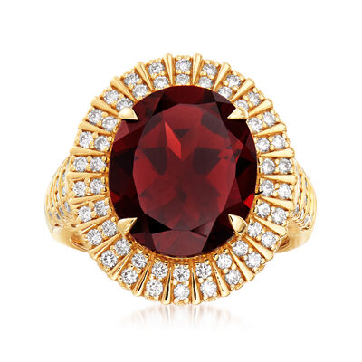 8.50 Carat Garnet and .65 ct. t.w. Diamond Halo Ring in 18kt Yellow Gold