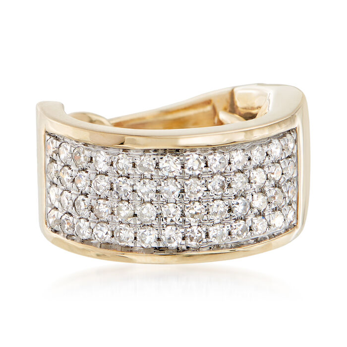 .20 ct. t.w. Pave Diamond Multi-Row Single Ear Cuff in 14kt Yellow Gold, , default