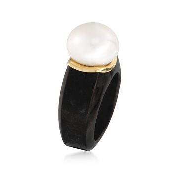 13-13.5mm Cultured Pearl Ring in Black Jade and 14kt Yellow Gold, , default