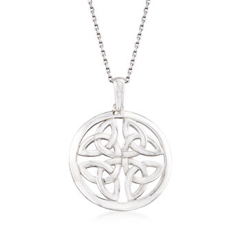 Sterling Silver Celtic Trinity Knot Pendant Necklace, , default