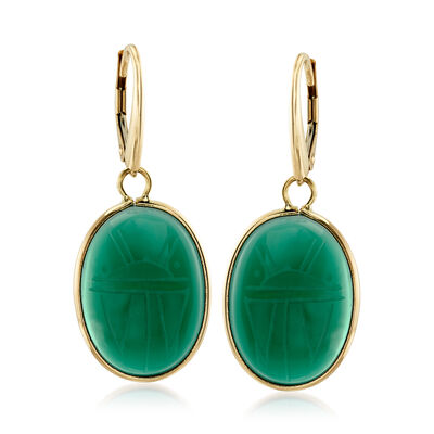 Green Chalcedony Scarab Drop Earrings in 14kt Yellow Gold, , default