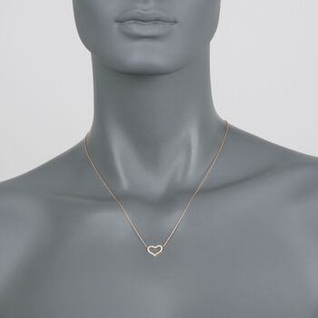 """.16 ct. t.w. CZ Heart Necklace in 14kt Yellow Gold. 18"""""""