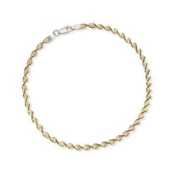 "Two-Tone Sterling Silver Spiral Anklet. 10"", , default"