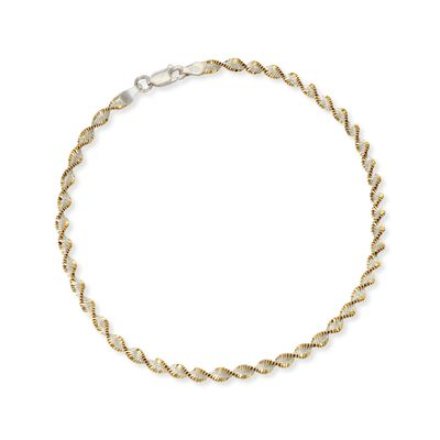 Two-Tone Sterling Silver Spiral Anklet, , default