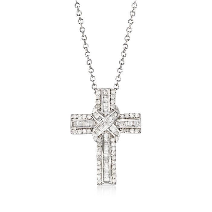 .50 ct. t.w. Diamond Cross Pendant Necklace in Sterling Silver