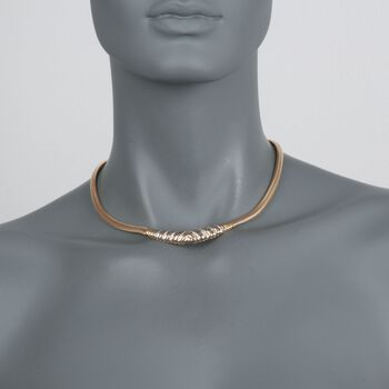 "C. 1980 Vintage .55 ct. t.w. Diamond ""V"" Snake Link Necklace in 14kt Yellow Gold. 15.5"", , default"