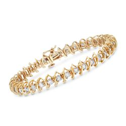 "5.00 ct. t.w. Diamond S-Link Bracelet in 14kt Yellow Gold. 7"", , default"