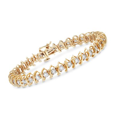 5.00 ct. t.w. Diamond S-Link Bracelet in 14kt Yellow Gold, , default