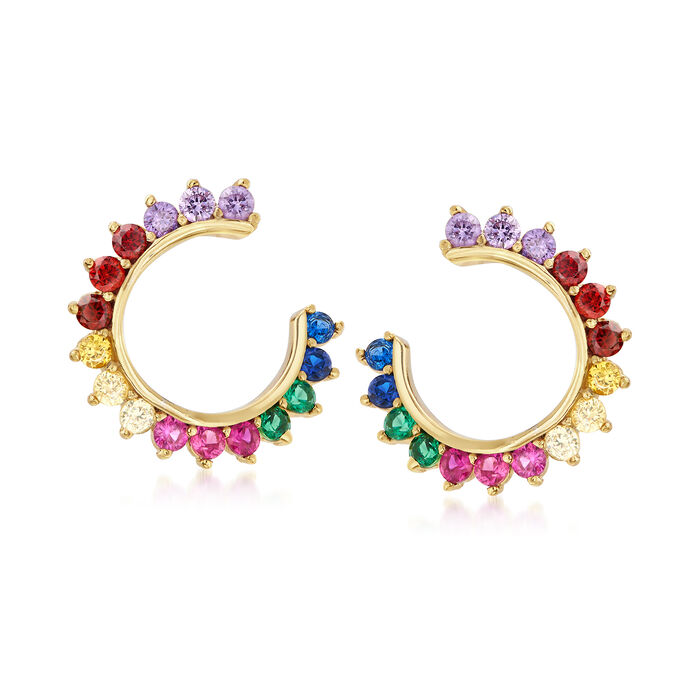 .85 ct. t.w. Multicolored CZ C-Hoop Earrings in 18kt Gold Over Sterling, , default
