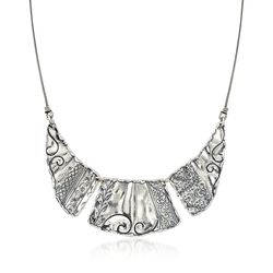 "Sterling Silver Scrollwork Bib Necklace. 18"", , default"