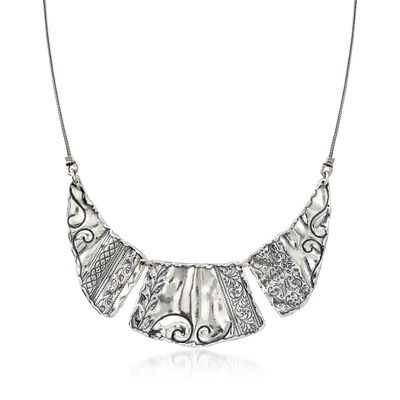 Sterling Silver Scrollwork Bib Necklace, , default