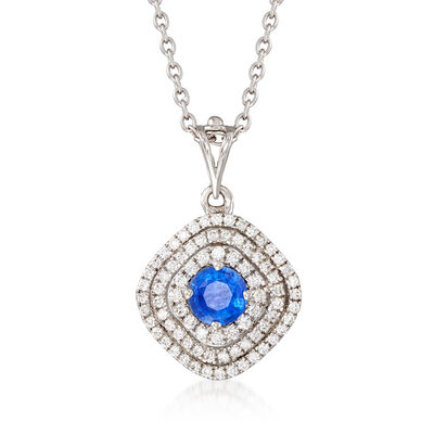 C. 1990 Vintage .75 Carat Sapphire and .55 ct. t.w. Diamond Pendant Necklace in 18kt White Gold