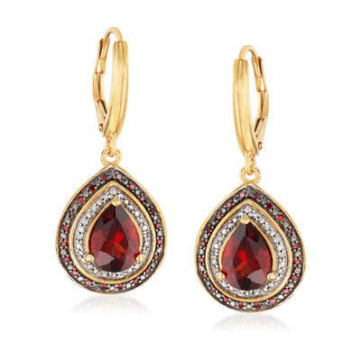 2.60 Carat Garnet and .20 ct. t.w. Red and White Diamond Drop Earrings in 18kt Gold Over Sterling, , default