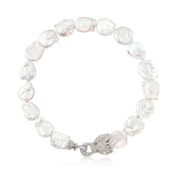 """18-23mm Cultured Baroque Pearl and 6.83 ct. t.w. White Topaz Panther Necklace in Sterling. 18.5"""", , default"""
