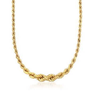 Italian 18kt Gold Over Sterling Silver Graduated Rope Necklace, , default