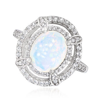 Opal and .20 ct. t.w. White Topaz Ring in Sterling Silver