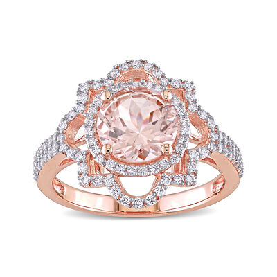 1.70 Carat Morganite and .46 ct. t.w. Diamond Ring in 14kt Rose Gold