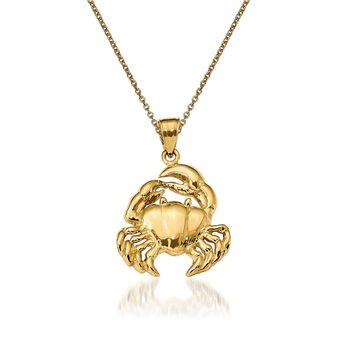 "14kt Yellow Gold Crab Pendant Necklace. 18"", , default"