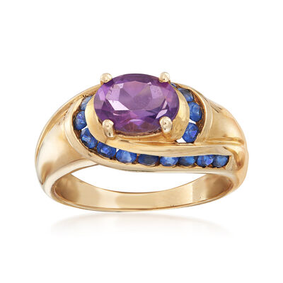 C. 1980 Vintage 1.25 Carat Amethyst and .50 ct. t.w. Sapphire Ring in 10kt Yellow Gold, , default