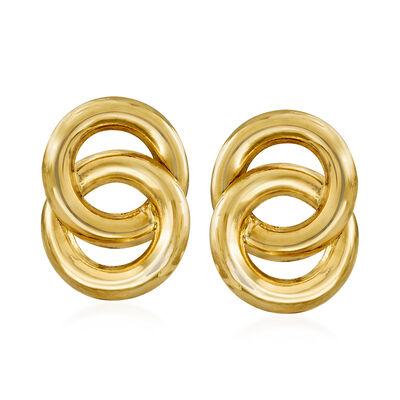 14kt Yellow Gold Interlocking Circle Earrings, , default