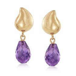 6.50 ct. t.w. Amethyst Earrings With 14kt Yellow Gold, , default