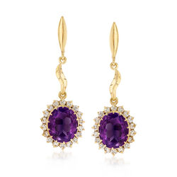 C. 1960 Vintage 11.50 ct. t.w. Pink Synthetic Sapphire and 1.25 ct. t.w. Diamond Drop Earrings in 14kt Yellow Gold, , default