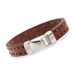 Men's Brown Leather Bracelet With Sterling Silver, , default