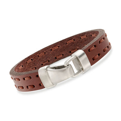Men's Brown Leather Bracelet with Sterling Silver, , default