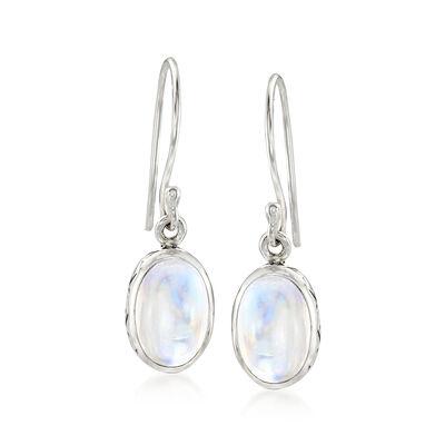 Moonstone Drop Earrings in Sterling Silver , , default