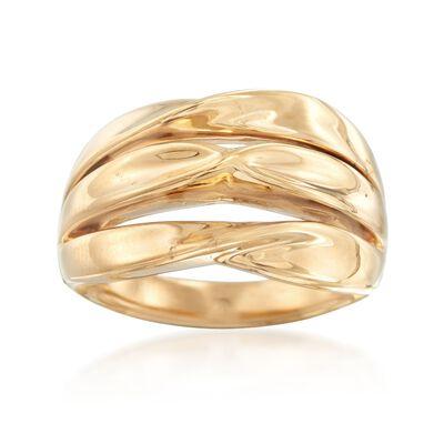 14kt Yellow Gold Three-Row Twist Ring, , default