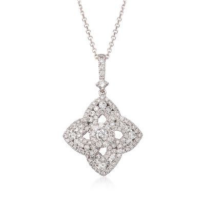 1.15 ct. t.w. Diamond Floral Pendant Necklace in 18kt White Gold, , default