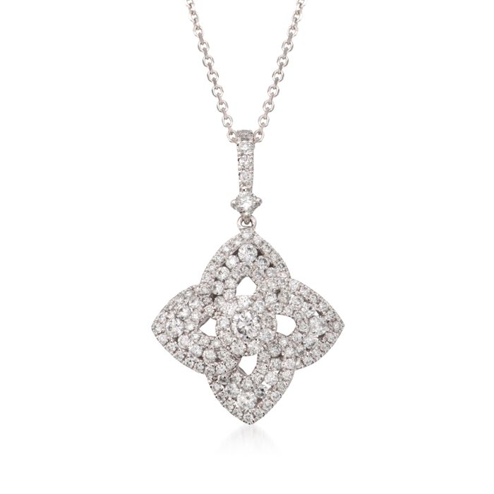 1.15 ct. t.w. Diamond Floral Pendant Necklace in 18kt White Gold
