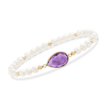 5.00 Carat Amethyst and 4-5mm Cultured Pearl Stretch Bracelet With 14kt Yellow Gold, , default