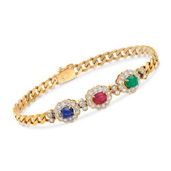 C. 1980 Vintage 4.10 ct. t.w. Multi-Stone Bracelet in 18kt Yellow Gold, , default