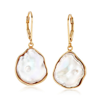 15-17mm Cultured Baroque Keshi Pearl Free-Form Drop Earrings in 18kt Gold Over Sterling, , default