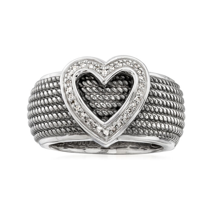 .10 ct. t.w. Diamond Heart Ring in Sterling Silver with Black Rhodium, , default
