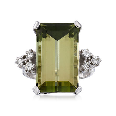 C. 1970 Vintage 17.08 Carat Green Tourmaline and .35 ct. t.w. Diamond Ring in 14kt White Gold, , default