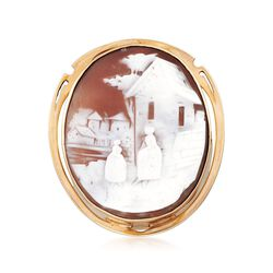 "C. 1930 Vintage Shell ""Idyllic Village"" Cameo Pin Pendant in 14kt Yellow Gold, , default"