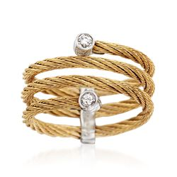 "ALOR ""Classique"" Yellow Cable Coil Ring With Diamond Accents and 18kt White Gold. Size 7, , default"