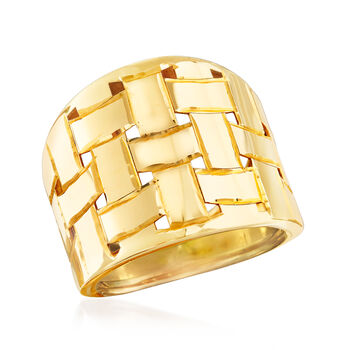 Italian 14kt Yellow Gold Basketweave Dome Ring. Size 7, , default