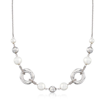 Italian 6.5-10mm Simulated Pearl, Bead and Circle Necklace in Sterling Silver , , default