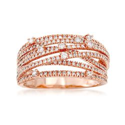 .75 ct. t.w. Diamond Highway Ring in 14kt Rose Gold, , default