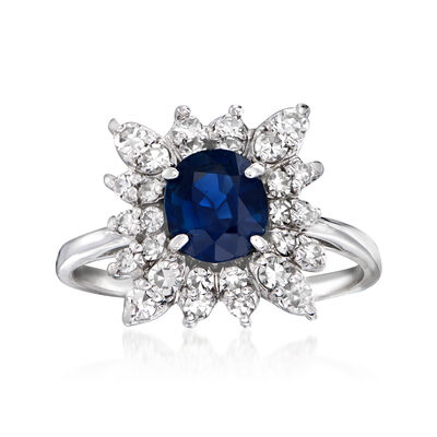 C. 1970 Vintage 1.10 Carat Sapphire and .65 ct. t.w. Diamond Ring in 18kt White Gold