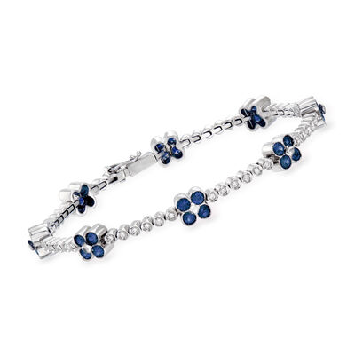 C. 1990 Vintage 3.20 ct. t.w. Sapphire and .50 ct. t.w. Diamond Flower Bracelet in 18kt White Gold, , default