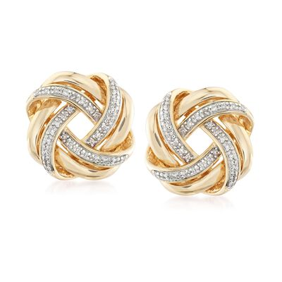 .20 ct. t.w. Diamond Love Knot Earrings in 18kt Yellow Gold Over Sterling