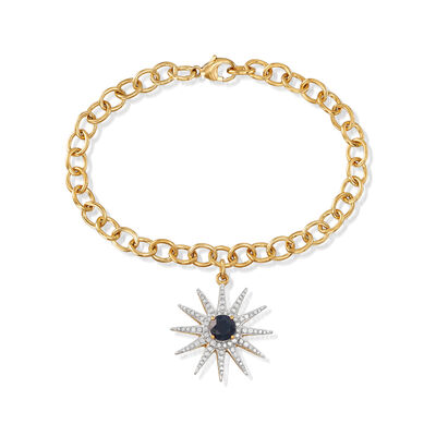.70 Carat Sapphire and .50 ct. t.w. Diamond Sun Charm Link Bracelet in 18kt Gold Over Sterling, , default