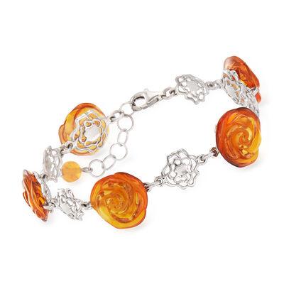 6-15mm Amber Rose-Link Bracelet in Sterling Silver, , default