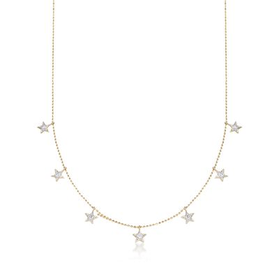 .31 ct. t.w. Diamond Star Adjustable Station Necklace in 14kt Yellow Gold, , default