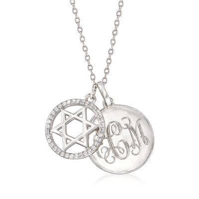 .60 ct. t.w. CZ Personalized Star of David Pendant Necklace in Sterling Silver, , default
